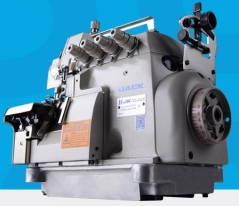 Maquina de costura duplo arrasto Jack JK-798TDI-5-3X5 de 2 agulhas 5 fios 8MM com tampo e bancada nacional