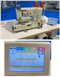 Maquina de costura picoeta Kansai Special MAC200-DD com motor servo e bancada de rodas