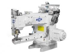 Maquina de costura de recobrimento frontal braço longo Kingtex VLD1500-0-356M/UVP-L1, motor servo, corte superior e inferior e levantamento de calcador pneumatico