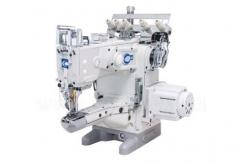 Maquina de recobrimento de costura frontal Kingtex VXD1500-0-356M/UVP-X1, motor servo, corte superior e inferior e levantamento de calcador pneumatico