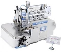 Maquina de costura corte e cose Kingtex UHD-9024A-243-M14/SS051/TL004 com remate de ponta