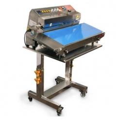 Máquina de selar em continuo Mini-Sealing, com marcador e bancada de rodas