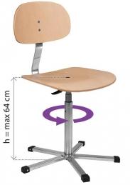 Cadeira de parafuso com apoio e base em contraplacado Ergolina 10004 (94013000)