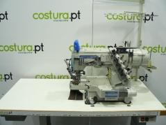 Maquina de braço estreito Kingtex CTD9713-2-356M/UCP-D1, com corte de linha, levantamento de calcador, motor servo, tampo e bancada nacional