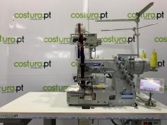 Maquina de Costura meter elastico Kingtex FTD7069-6A-356M/TCS09/SE005, com corte de guilhotina e fotocelula, tampo e bancada nacional