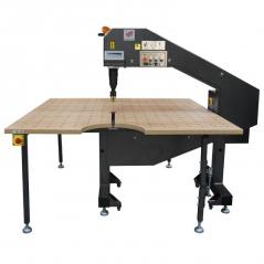 Maquina de fita de serra com mesa de 1800x1800mm Rexel R1000, fita de 4250 mm, com variador de velocidade e insuflação
