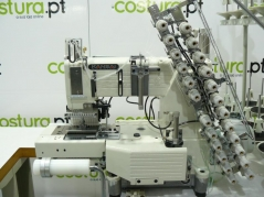 Maquina de costura Kansai Special KANSAI FX 4412 P/UTC 3/16, com motor servo e bancada de rodas