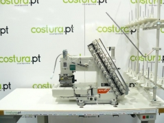 Máquina de costura SIRUBA VC008-12064P/DVU1-0, com motor servo, tampo e bancada nacional