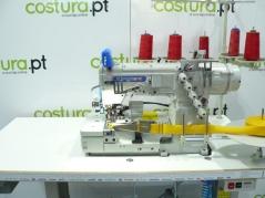 Maquina de Costura de meter coloretes Kingtex mod.FTD7003-0-356M/TCS09/SE005, com corte de coloretes, motor servo, tampo e bancada nacional