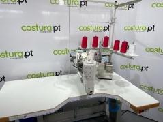 Maquina de costura Isamu YC62D-460-07-AT/CT1/SC4/I70MH, Corte de cordao automático com fotocelula, motor servo, tampo e bancada nacional