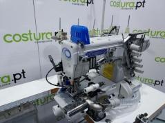 Maquina de costura de meter cintos em anel Kingtex mod.CTD9085-0-356M/RP03A/UCP-B2/CV/TR2, com corte de linha, aspiração de desperdício e levantamento de calcador